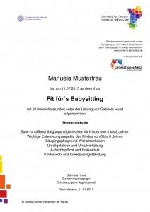 Teilnahmebescheinigung Babysitting