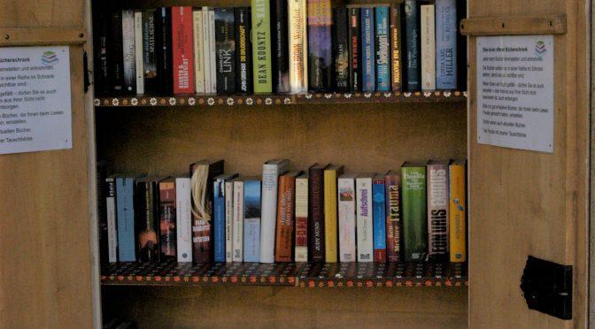 Offener Schrank mit vielen Büchern; Schrank mit schöner alter Bauernmalerei
