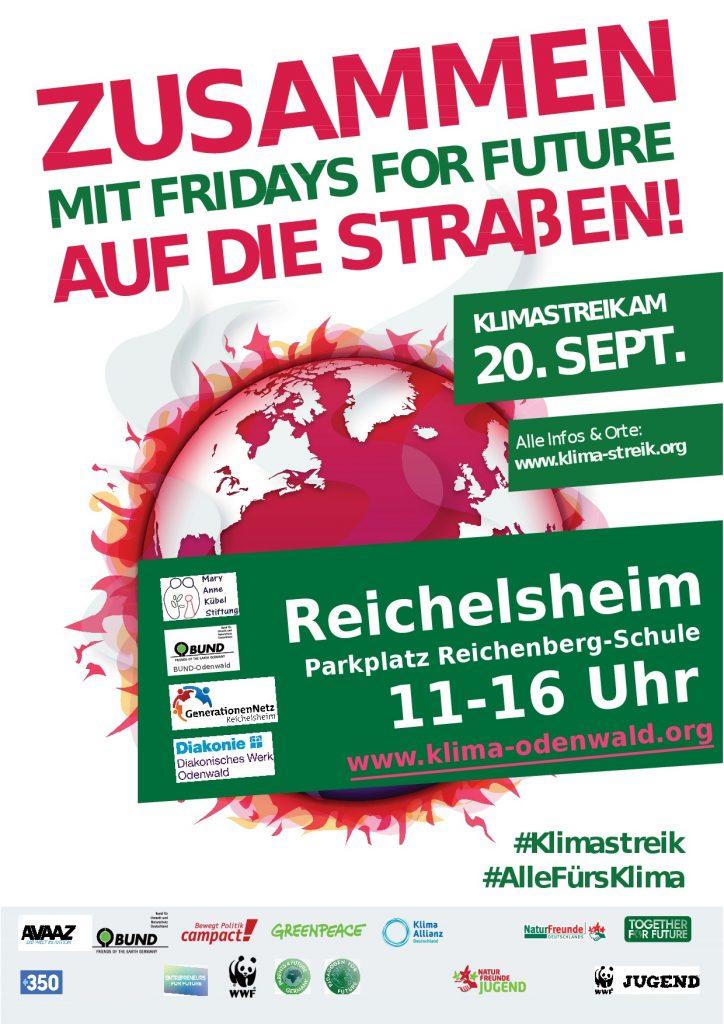 Zusammen mit fridays for Future auf die Straßen - Plakat