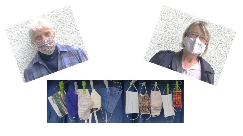 Gisela Scheve, Birte Undeutsch, jeweils mit Mundschutz, diverse Munschutze auf der Wäscheleine